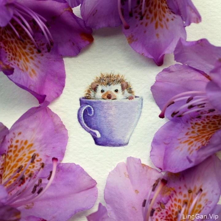 微型小动物水彩绘画插画艺术作品分享