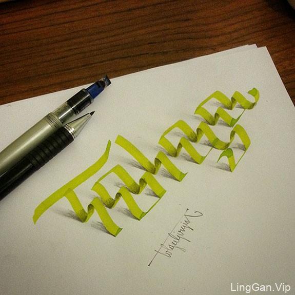 国外设计师之逼真的手绘3D立体字设计