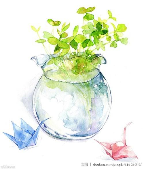 小清新版的美术插画-浮岛鲸的水彩作品