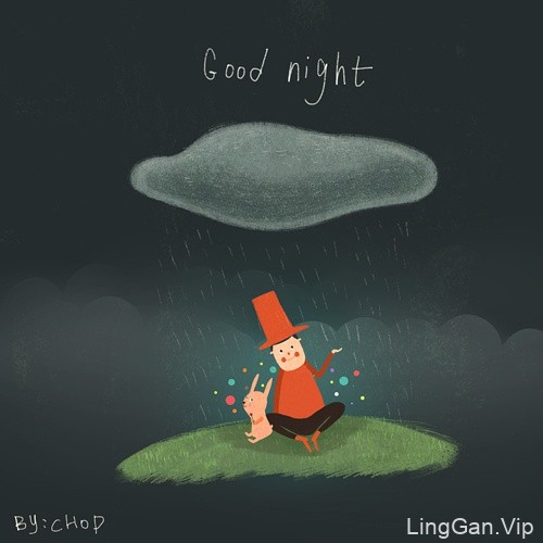治愈系小能手~排骨君的晚安系列插画设计6P