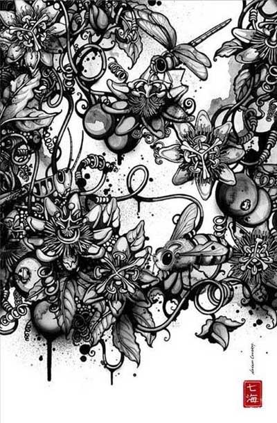 设计师Nanami Cowdroy风格黑白插画