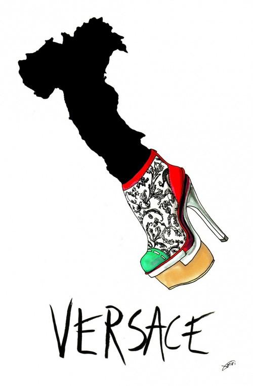 国外插画师Achraf Amiri怪异的时尚鞋子插画设计