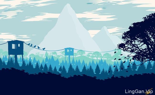 国外设计师Ravi Tej山谷风景的插画作品