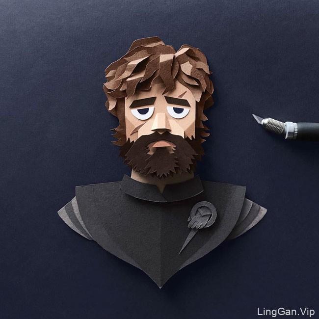 权力的游戏人物角色手工剪纸插画设计