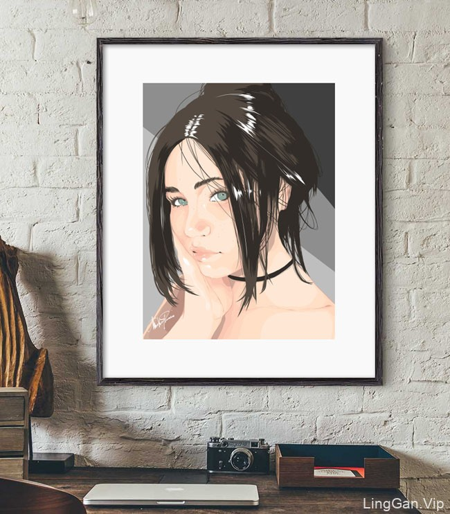 意大利Mirko Romani女孩肖像插画设计