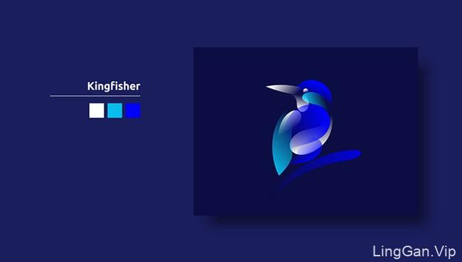 简单的几种色彩绘制出的矢量鸟类插图