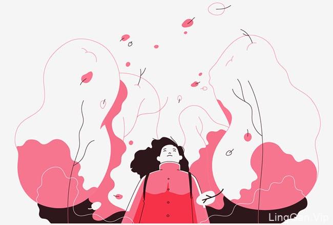 Evgenia Makarova简约线条风格的旅行记录插画