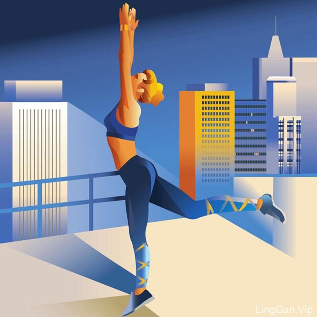 法国Anta Alek健身运动插图设计作品