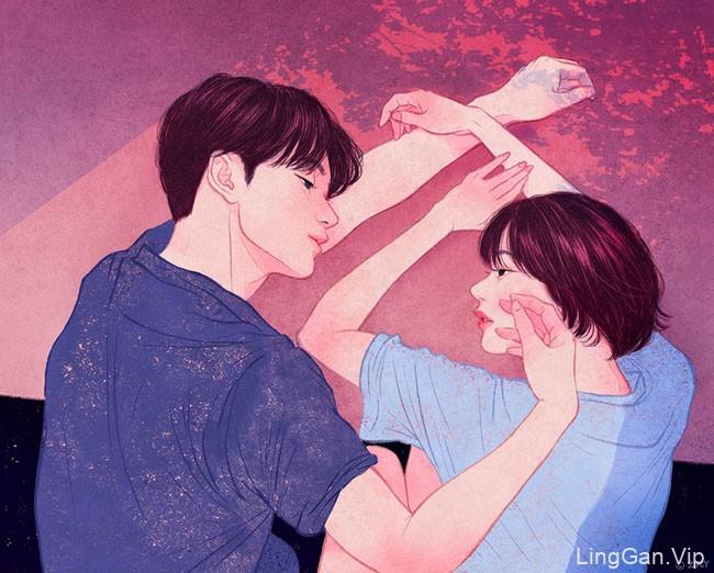 韩国设计师Zipcy情侣插画设计
