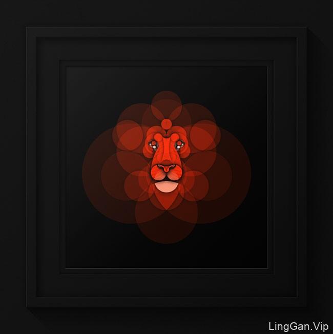 葡萄牙Bruno Silva用圆形构成的动物插画