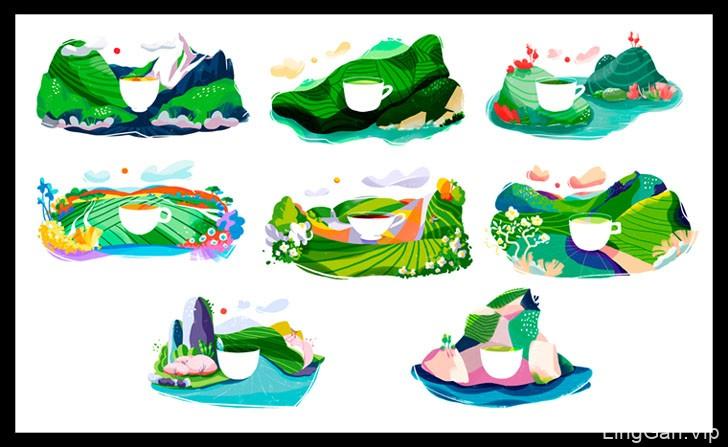 美国Iryna Korshak茶园插画设计作品