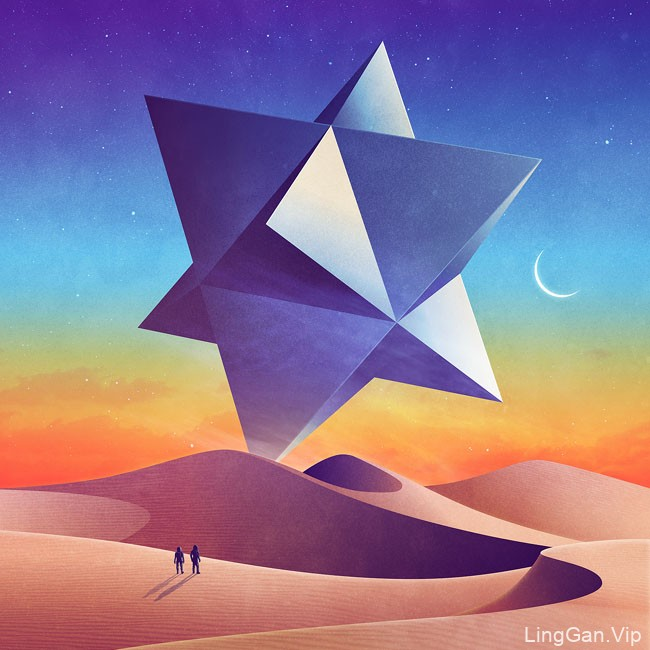 James White科幻探索主题概念风景插画