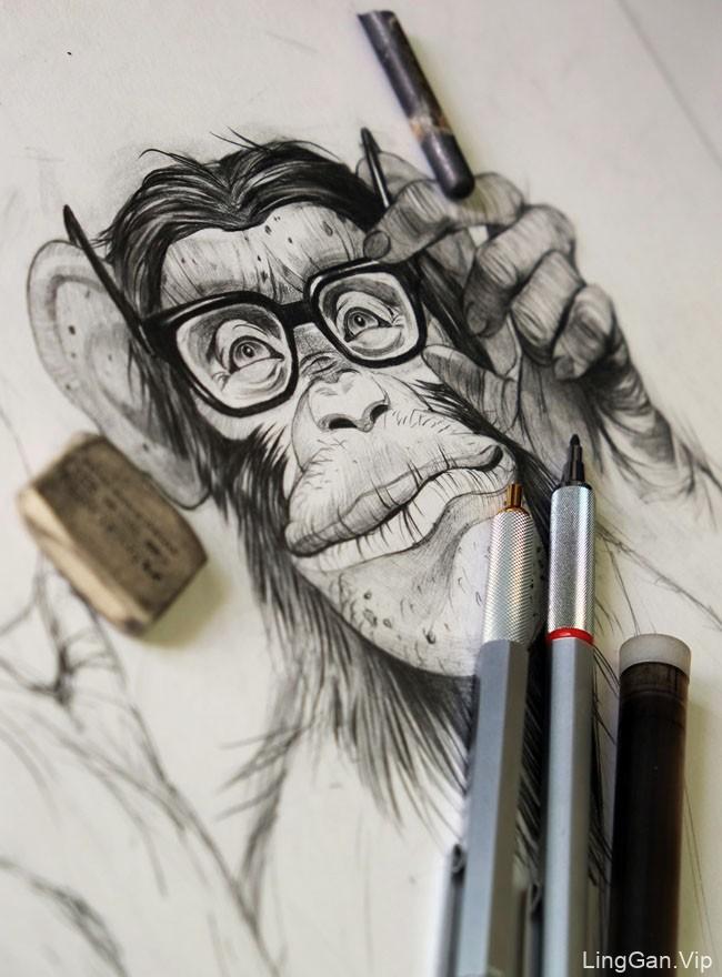 Dmitry Ligay有趣的猩猩插画设计