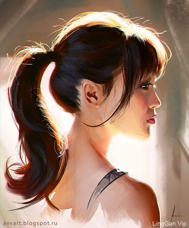 俄罗斯Vinogradov Aleksei漂亮的女孩肖像插画