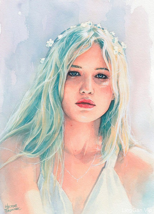 Hector Trunnec漂亮的女性水彩肖像插画