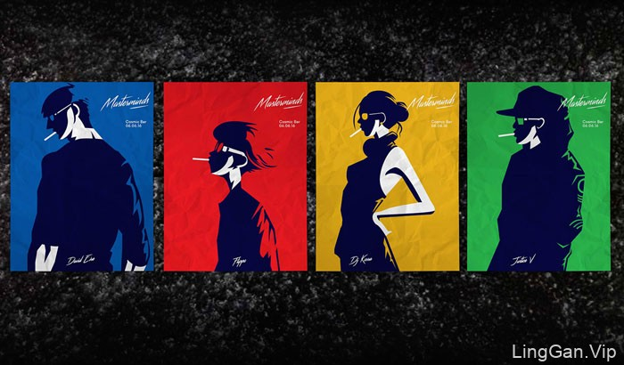 Masterminds主题极简时尚插画设计