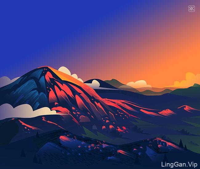 The Road Trip主题风景插画设计