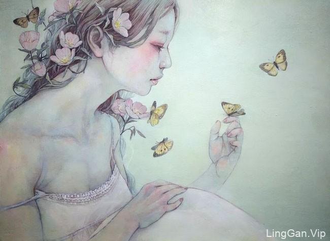 日本Miho Hirano唯美女性插画设计作品