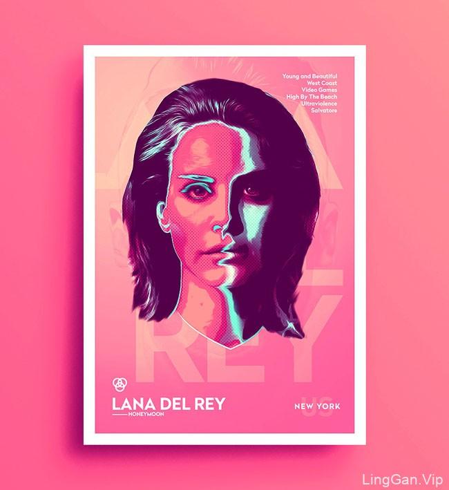 比利时Tarek Okbir霓虹灯风格肖像插画