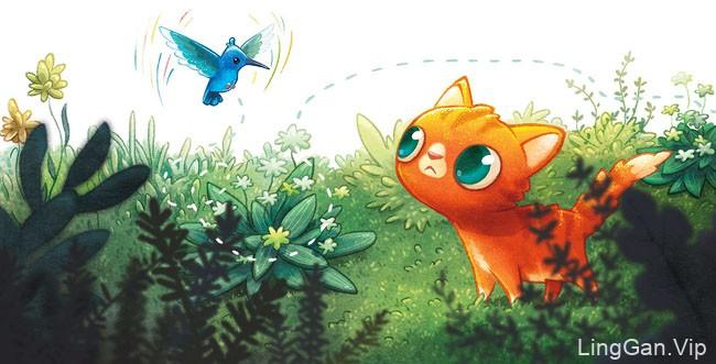 《Lily''s Lost Purr》儿童书籍插画设计