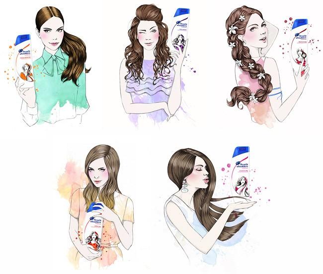 英国Miss Led商业插画设计-海飞丝