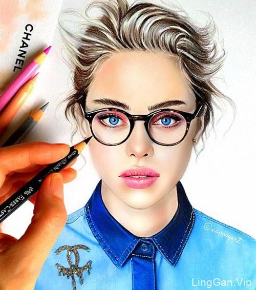 国外设计师Atalia Vasilyeva时尚彩铅肖像插画