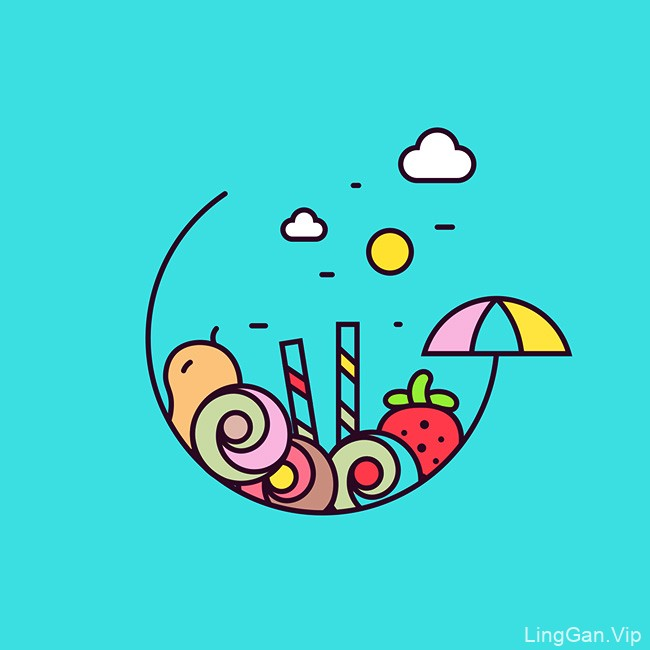 Rollesque冰淇淋店矢量插图设计