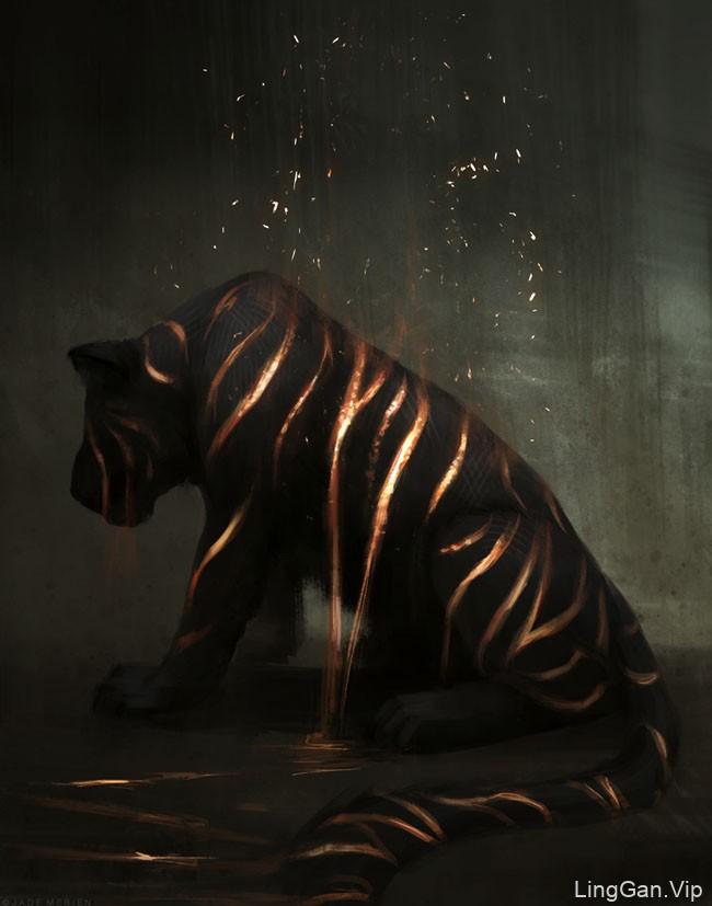 美国Jade Merien概念动物插画作品:老虎