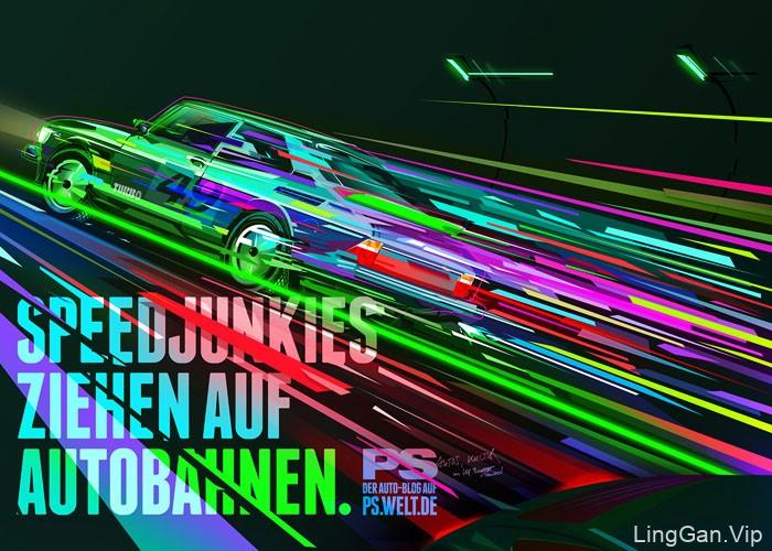 德国The Neatful绚丽的汽车插画设计