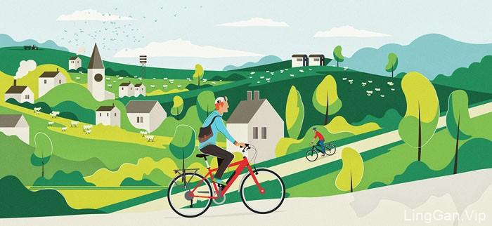 清新的Emu Bikes主题插画设计