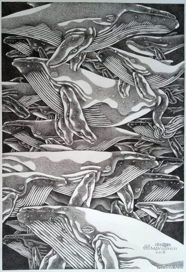 钢笔画[浮光耀鲸]