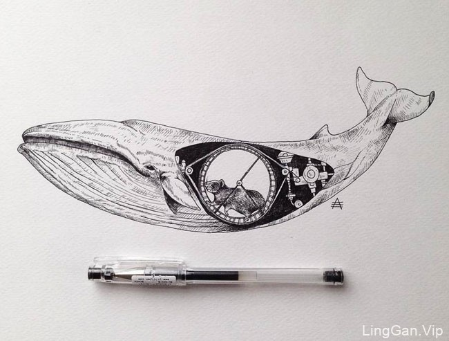 Alfred Basha超现实风格黑白手绘插画设计