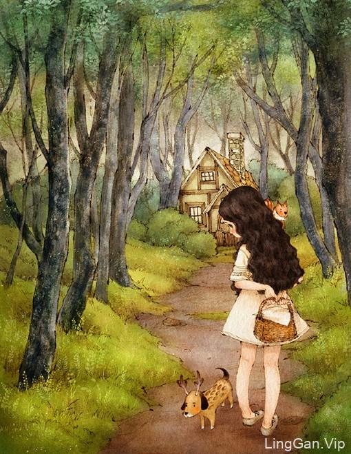 Aeppol童话风格的唯美插画作品
