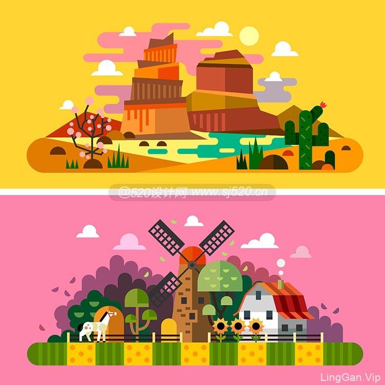 创意抽象扁平化场景插画作品(附带AI源文件下载)