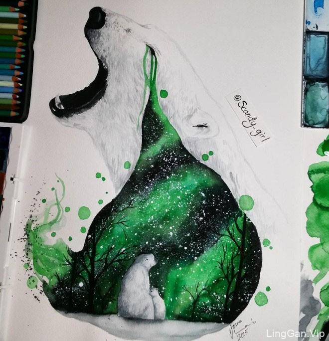Jonna Hyttinen水彩动物插画作品