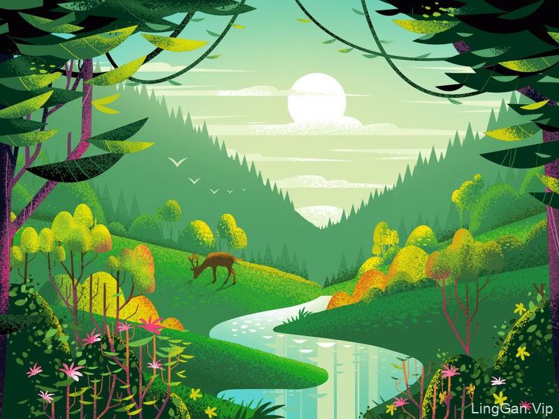 假期时光!一组恬静的风景插画灵感