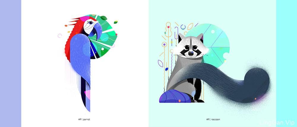 温情时光!一组扁平动物灵感插图
