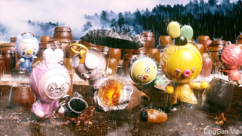 雨天故事!萌萌的3D动画插图灵感