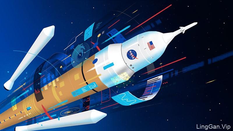 太空的魅力!8组复古风科幻插画作品