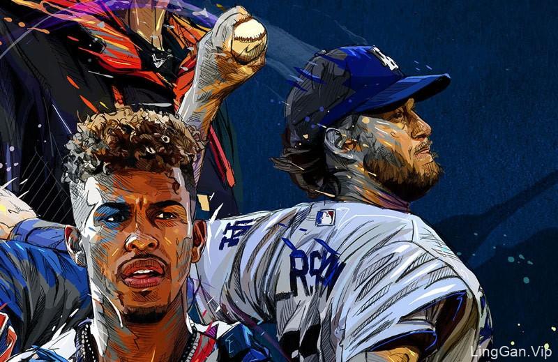 美国职业棒球大联盟 MLB 人物插画海报