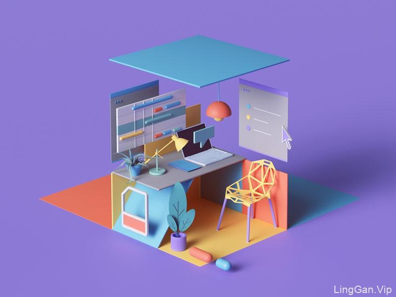 立体创意!9款3D版网页插画