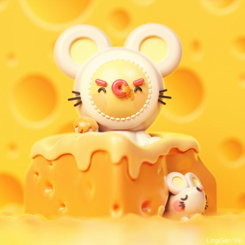 活力四射!鼠年3D插画设计