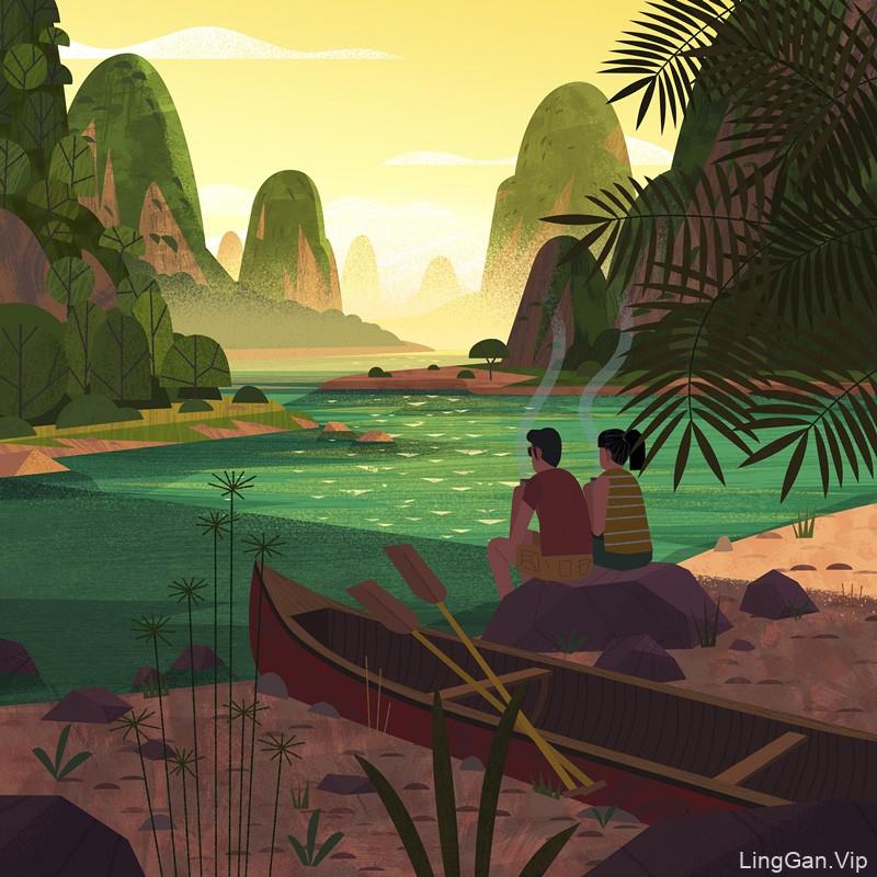 精巧迷人!14款色彩迷人的风景插图