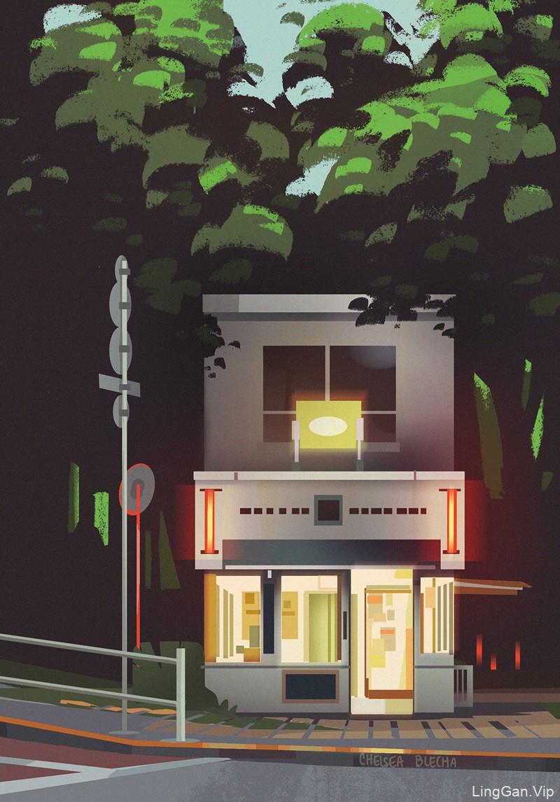 朦胧光影!10款风光建筑插画