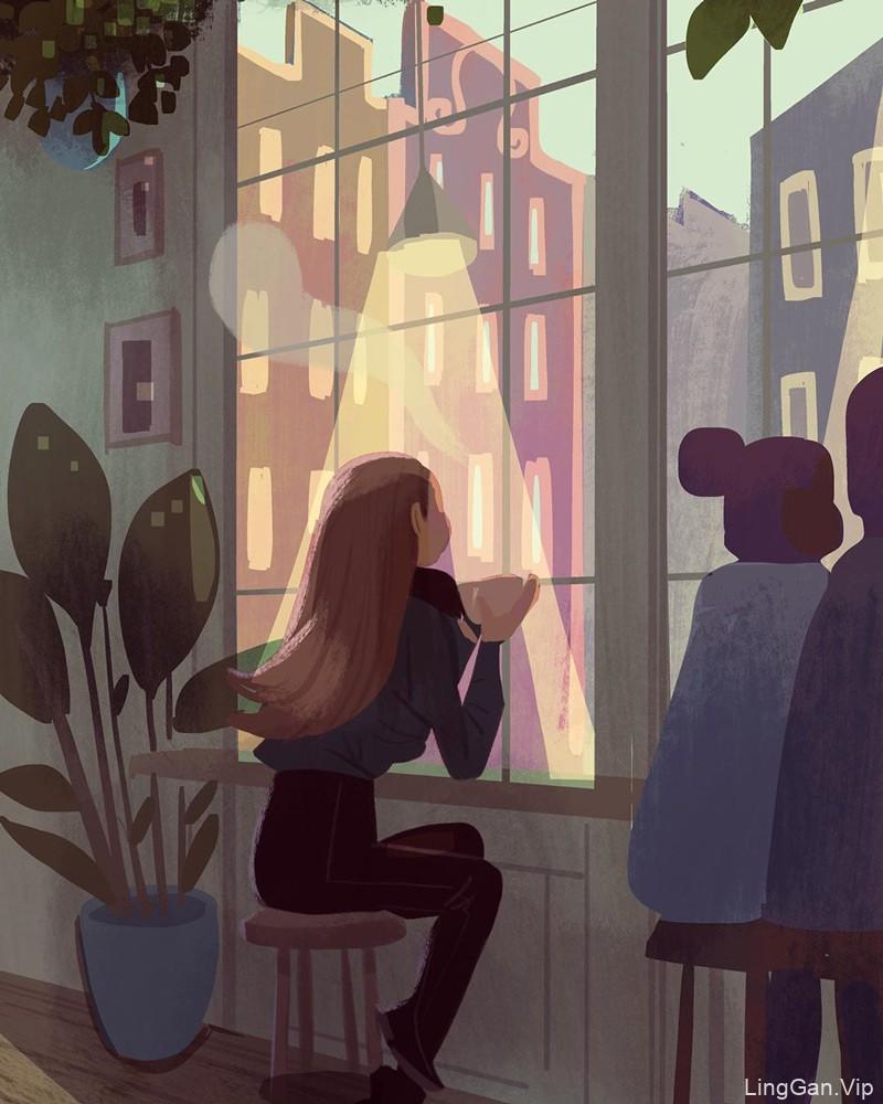 18款优质构图的光影插画
