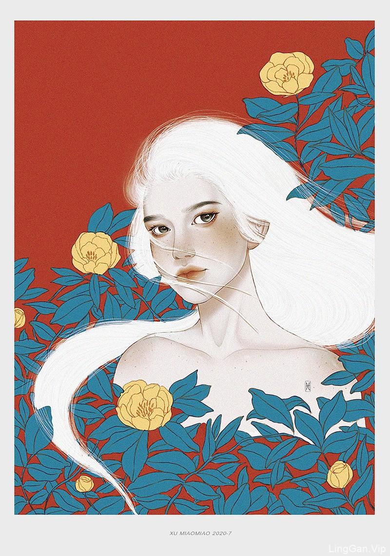 12款线条柔美的工笔画风格人物插图