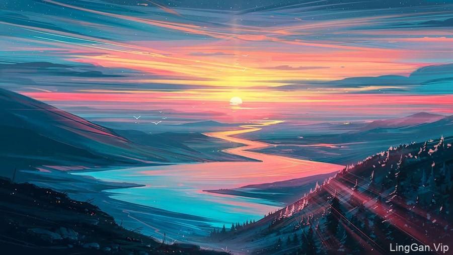 奇幻的色彩!16款大气渐变的景观插画