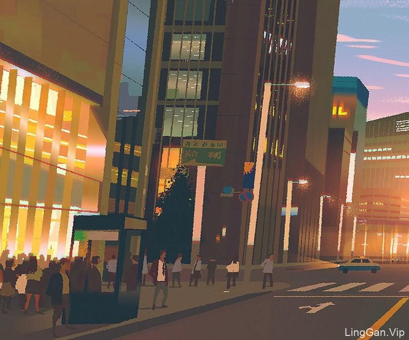 12款街道与楼间的光影对比插画