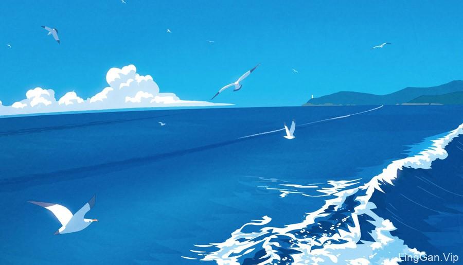 一组蓝色调的夏日插画作品