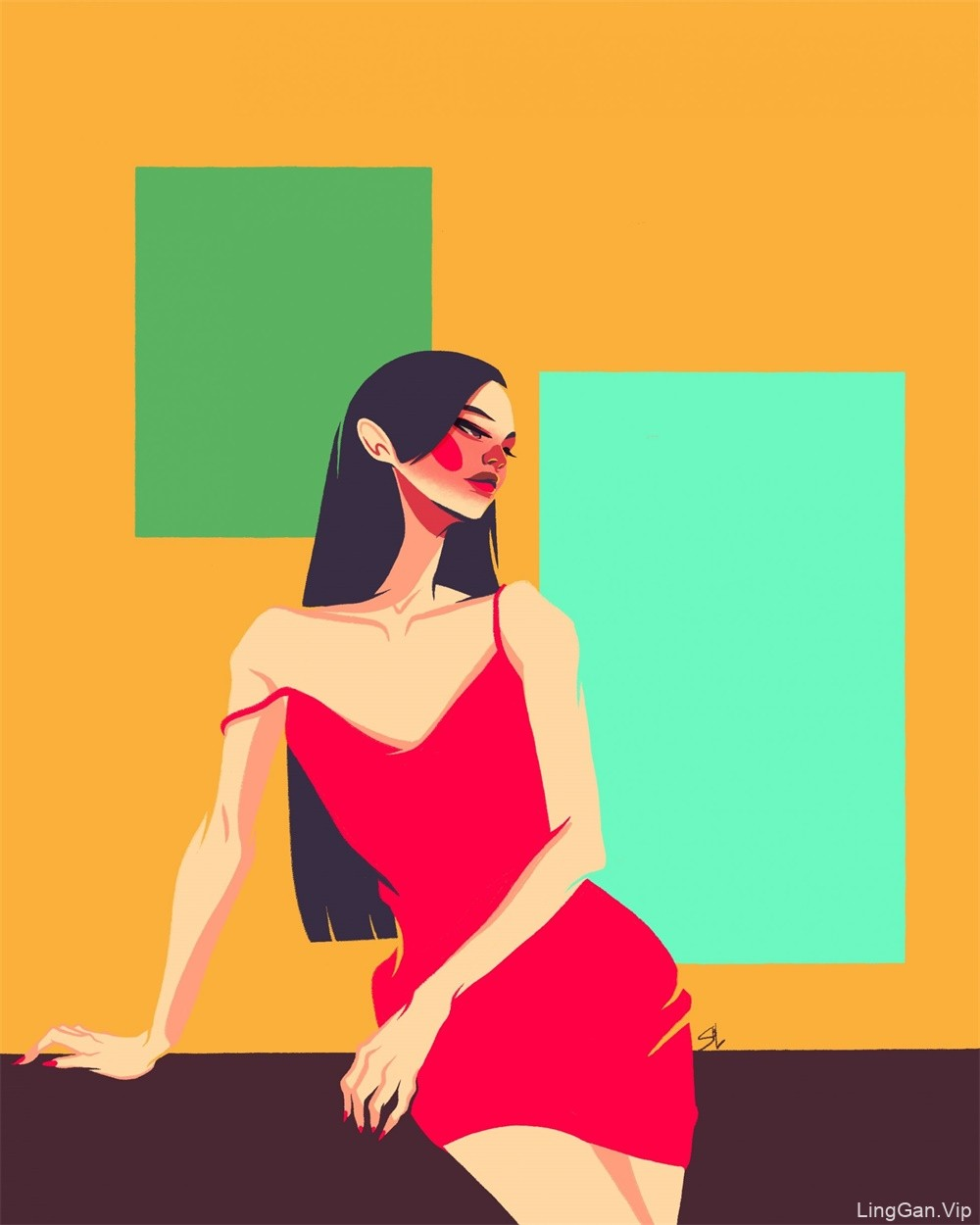 【插画设计】配色大胆的女性人物角色插画作品
